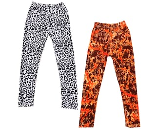 IndiWeaves Girls Velvet Printed Leggings Pack of 2