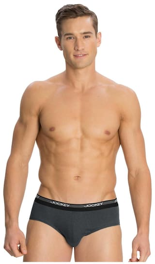 Jockey Charcoal Melange Square Cut Brief Pack of 2 - Style Number 8037