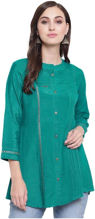 Kvsfab Casual Regular Green Color Rayon Tunic