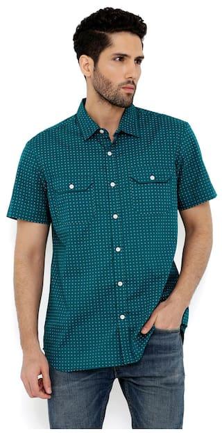 London Bee Men's Cotton Printed Short Sleeve Regular Fit Shirt MSSLB0116