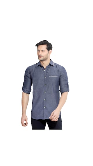 London Bee Men's Solid Cotton Long Sleeve Slim Fit Shirt