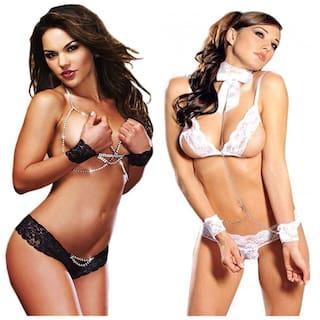 Buy Loverx Polyester Solid Babydoll Nightwear Lingeries Bikini ... 92045e413