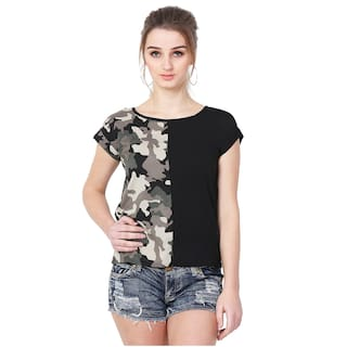 MALLORY WINSTON Women Black with Army Print top.