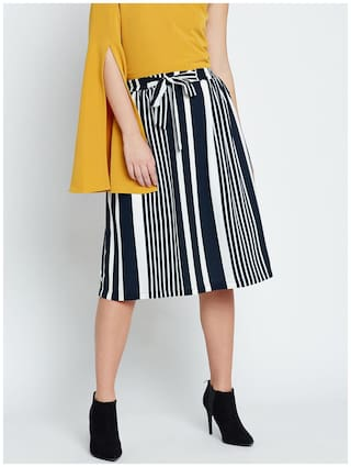 Marie Claire White & Navy Blue Striped A-Line Skirt