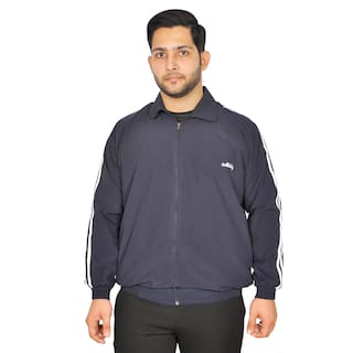 Meddy Sports Track Jacket for Men in Blue - Solid Pattern;Collar Jacket;Full Sleeves;with Chain