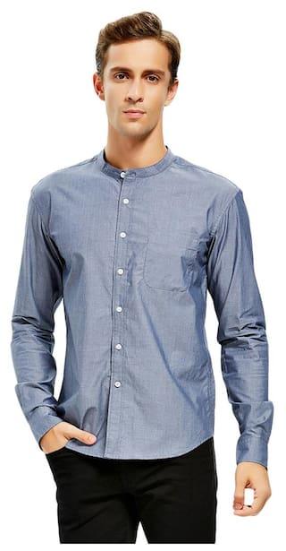 Men Band Collar Cotton Dress Shirt