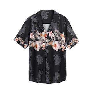 Men Short Sleeve Floral Button Down Casual Shirt Hawaiian Shirts