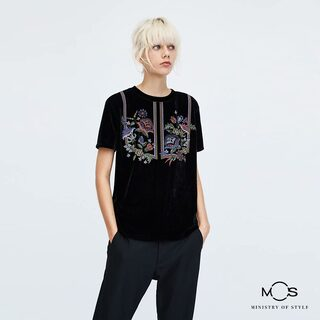 MOS Exclusive Women Printed Round Neck Top-Black