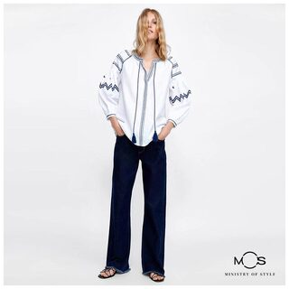 MOS Exclusive Women Embroidered Solid Casual Top - White