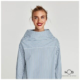 MOS Exclusive Women Stripe Casual Top - Blue