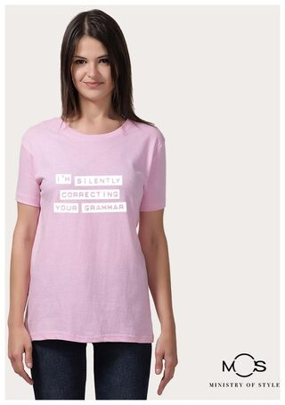 MOS Women Regular Fit Round Neck Printed T-Shirt-Pink
