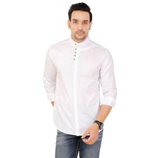 Mudit Crafts Men Solid Casual White Shirt