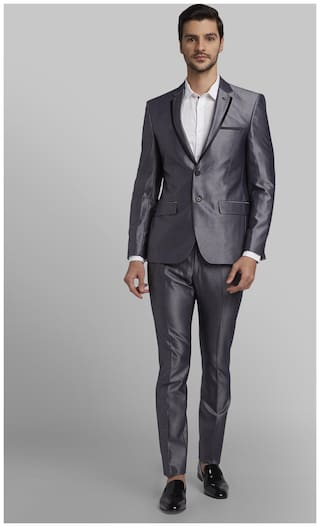 Parx Rayon Solid Men Single Breasted Suit - Grey