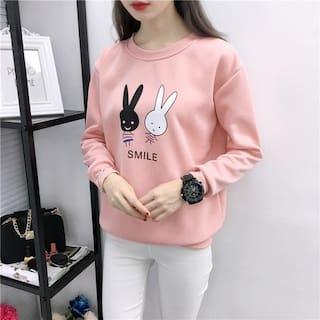Popmode cute twin bunny print Pink Color Sweatshirt