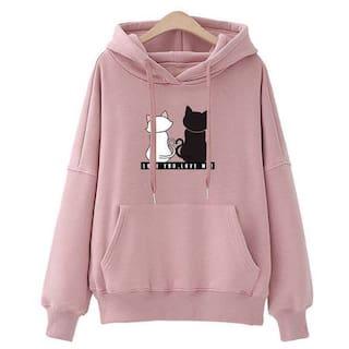 Popmode Cute Catty Print Pink Hoody for girls