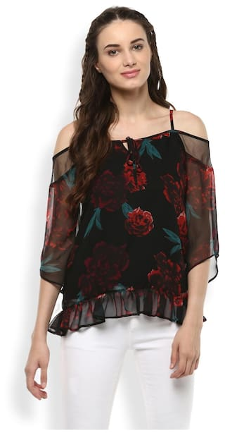 RARE Women Black Floral Print Bardot Top
