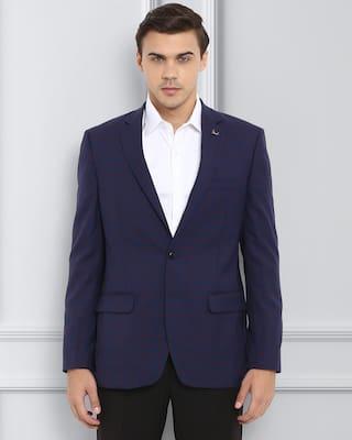 Raymond Men Solid Regular Fit Single Breasted Blazer Blue