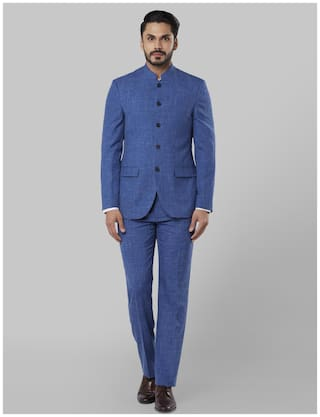Raymond Men Wool Solid Single Breasted Suit Blue