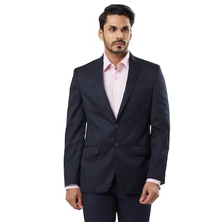 Raymond Solid synthetic Dark Blue Regular Fit Notch Full Sleeve Blazer