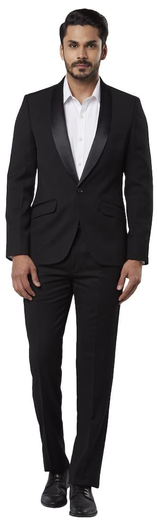Raymond Solid Regular Fit Black Full Sleeve Suits