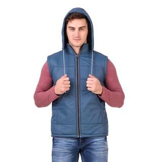 Red Vee Men Blue Solid Bomber jacket