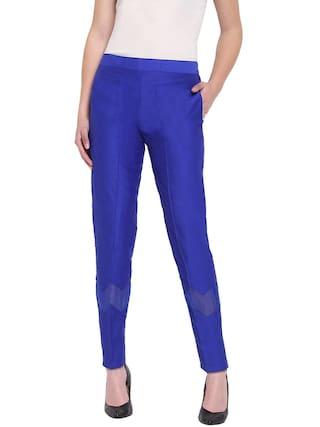 RIVI Blue Womens Silk Zig Zag Trouser