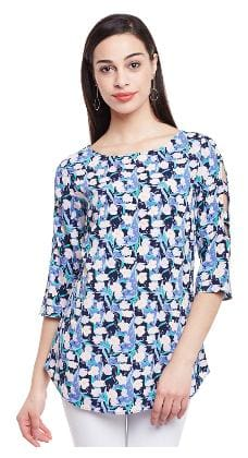 Ruhaan's Women's Navy Blue and Multi Color Floral Printed 3/4th Sleeve Tunic