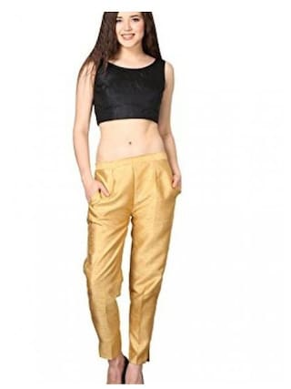 Shararat Nights Fashionable Cotton Silk Narrow Bottom Casual Ethnic Trousers for Girls / Women / Ladies