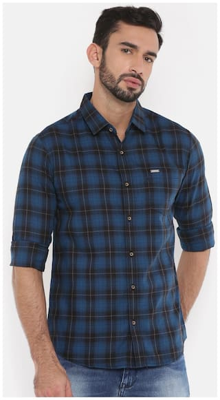 The Indian Garage Co Mens Blue Checked Casual Shirt