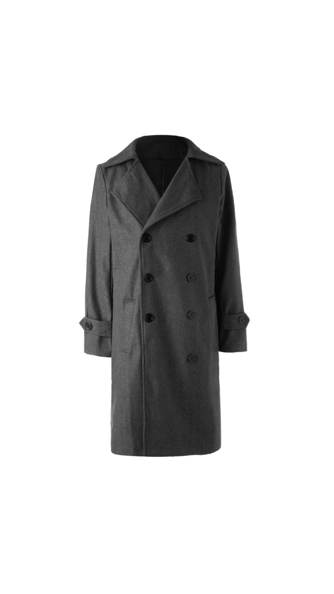 Turndown Collar Elegant Double Breasted Long Sleeves Woolen Trench Coat For Men
