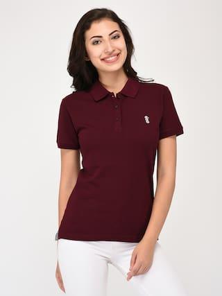 United Classic Women Polo Neck Maroon T-shirt