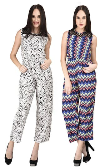 Westrobe Womens White Tiger Printed And Zig Zag Printed Jumpsuit Combo
