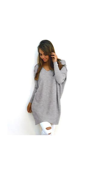 df62c357a Buy Women Pullover Sweater Female Sweater Fashionable V-neck Long ...