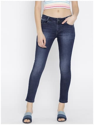 Xpose Women Navy Blue Slim Fit Mid-Rise Clean Look Stretchable Cropped Jeans
