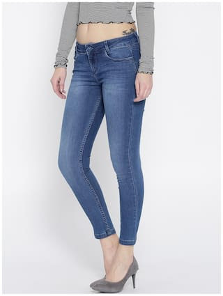 Xpose Women Blue Slim Fit Mid-Rise Clean Look Stretchable Cropped Jeans