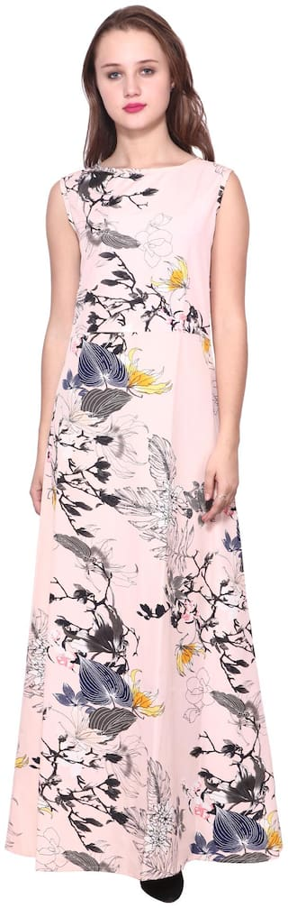 ZISAAN Crepe Floral Pink Color Maxi Dress For Women