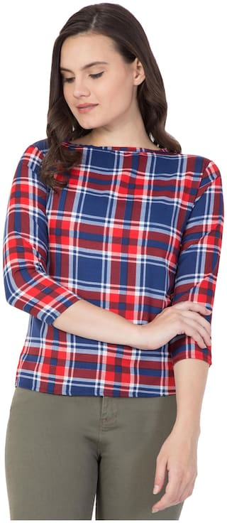 ZISAAN Crepe Checked Women Regular Top - Red and blue