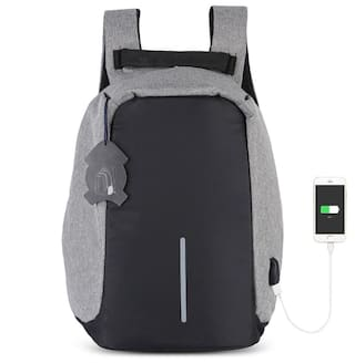 Men's Laptop Backpack With USB Charging Port (Grey)