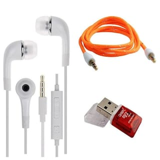 Combo Pack Samsung YR Earphone Headsets With Mic and Volume Control For Galaxy J7 max and Some Android Smartphones - --With Multi Colour Aux Cable And Quantum Card Reader