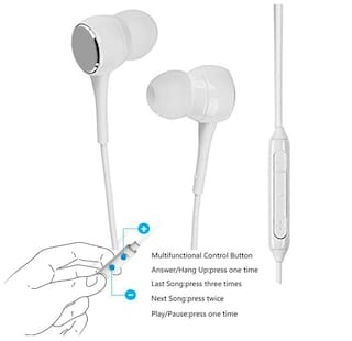 OPPO F3 Plus Compatible Soft Cushion Woffer High Bass Sound/ Original White Earphone Headphone HandsFree With Built-in Remote Calling Mic BY MATT PIE.