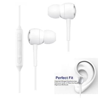 Apple I Pad Air Compatible Ergonomic Design White Nylon Wire  Earphone/Earphones Handsfree/Headphone High Bass Super Sound With Calling Microphone & 2 Pair Cusion By MATT PIE.