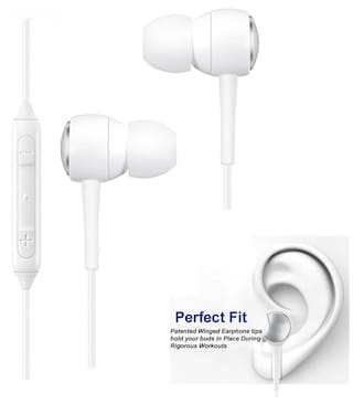 VIVO Nex S Compatible Ergonomic Design White Nylon Wire  Earphone/Earphones Handsfree/Headphone High Bass Super Sound With Calling Microphone & 2 Pair Cusion By MATT PIE.