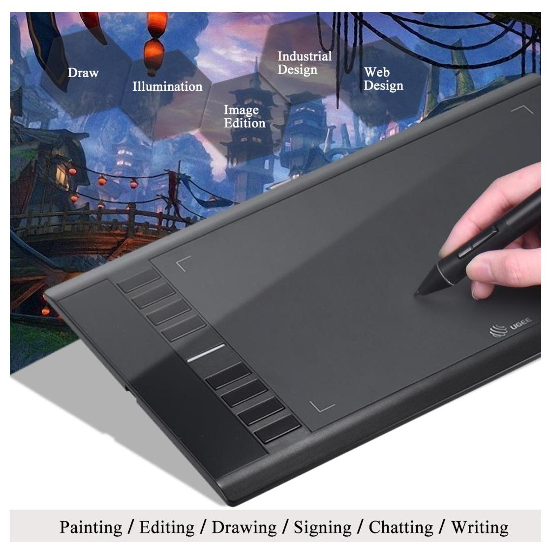 Ugee M708 Ultra-thin Draw Digital Graphics Drawing Painting Tablet Pad 10 *  6 Active Area 2048 Level Pressure Sensitivity