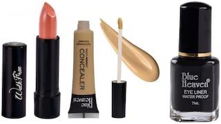 Blue Heaven Liquid Concealer 16 ml, Regular Black Eyeliner 7ml, Walkfree Nude Lipstick 3 g