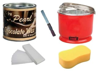 Chocolate Body Wax With Wax Strips-90 pc. + Wax Auto Cut Heater + Sponge & Applicator
