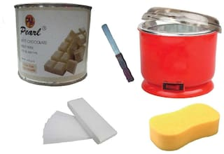 Combo Of White Chocolate, Auto Cut Heater, 90 Strip, Sponge, Applicator Waxing Kit - 600 g (Pack Of 5)