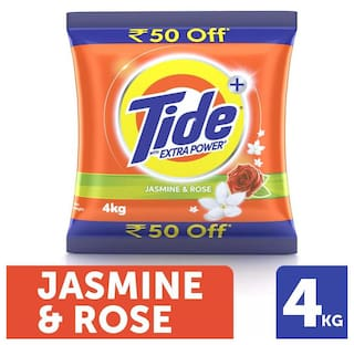 Tide + With Extra Power Jasmine & Rose Detergent Washing Powder - 4 kg Pack (Rs. 50/- off)