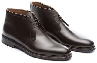 COSTOSO ITALIANO BROWN LEATHER CHUKKA BOOTS FOR MEN