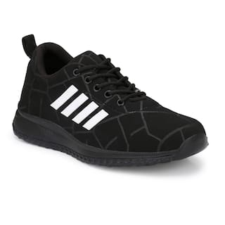 Men Black Stipred Casual Shoes