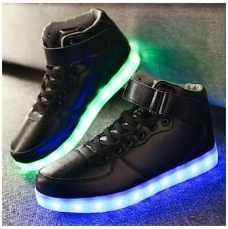 Men LED Lighting High Top Light Up Shoes Flashing USB Charging Lace-up Shoes 0492dafaec51